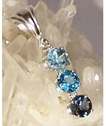 Blue Topaz Sterling Silver Pendant 7.0 cttw London Swiss Sky Blue MADE I... - $165.00