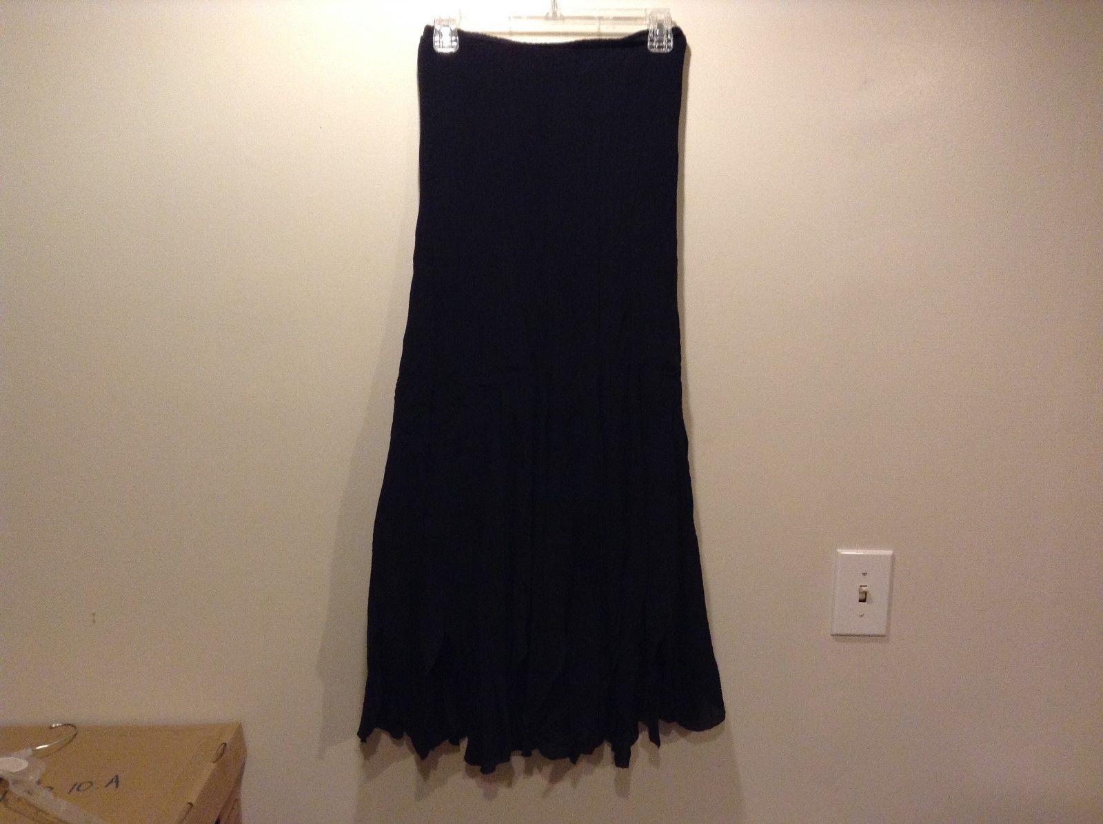 EXPRESS Long Black Stretch-Waist Silk Skirt Sz Small