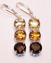 Citrine Smoky Quartz 11.5 cts Sterling Silver Earrings MADE IN USA - $165.00