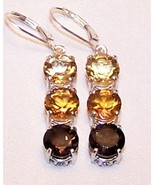 Citrine Smoky Quartz 11.5 cts Sterling Silver E... - $165.00
