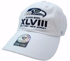 Seattle Seahawks 47 Brand NFL Football Super Bowl XLVIII White Team Logo Cap Hat - $18.04