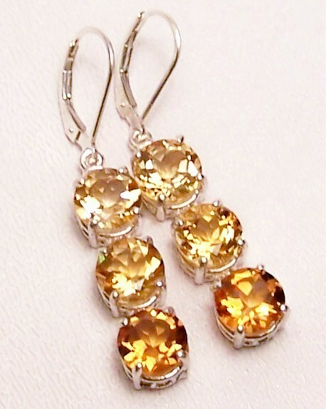 Primary image for Golden Citrine 3-Stone Sterling Silver Dangle Earrings MADE IN USA