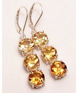 Golden Citrine 3-Stone Sterling Silver Dangle Earrings MADE IN USA - $215.00