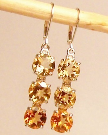 Golden Citrine 3-Stone Sterling Silver Dangle Earrings MADE IN USA