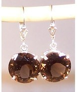 GENUINE Smoky Quartz 11.0 cttw Sterling Silver Earrings MADE IN USA - $125.00