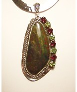 Garnet Peridot Bloodstone Sterling Silver Pendant Slide MADE IN USA OOAK - $295.00