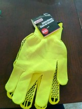 1 Pair - Tool Bench Neon Safety Work Gloves with Non-Slip Grip Dots - $11.76