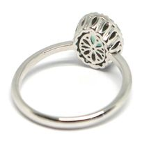 White Gold Ring 750 18K, Flower, Emerald 0.73 Oval, Diamonds, Italy Made image 3