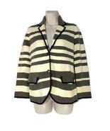 Ann Taylor Loft Knit Cardigan Sweater Blazer Women Size M Ivory Gray Str... - $24.74