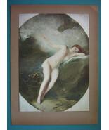 NUDE Goddess Venus Grieving Adonis's Death - COLOR Typogravure Print - $22.95