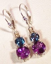 London Blue Topaz Amethyst Sterling Silver Earrings 6.0 cttw  MADE IN USA - $155.00