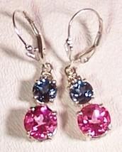 London Blue Topaz Pink Topaz Sterling Silver Ea... - $145.00