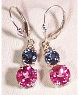 London Blue Topaz Pink Topaz Sterling Silver Earrings 6.0 cttw MADE IN USA - $145.00