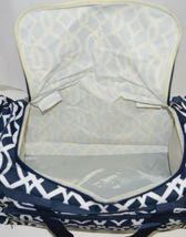 NGIL BIQ423NAVY Geometric Vine Print Canvas Duffle Bag Colors Navy and White image 8