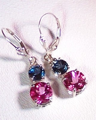 London Blue Topaz Pink Topaz Sterling Silver Earrings 6.0 cttw MADE IN USA