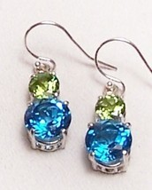 Peridot Blue Topaz Sterling Silver Earrings 8.5 cttw MADE IN USA - $155.00
