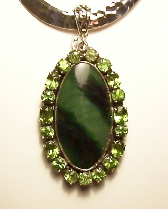 Primary image for Peridot Nephrite Jade Sterling Silver Pendant Slide Artisan MADE IN USA OOAK