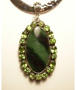 Peridot Nephrite Jade Sterling Silver Pendant Slide Artisan MADE IN USA ... - $449.00