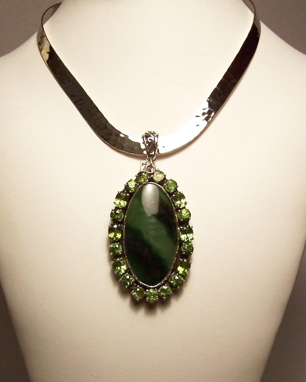 Peridot Nephrite Jade Sterling Silver Pendant Slide Artisan MADE IN USA OOAK