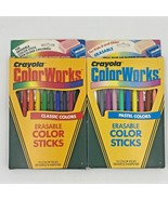 Vintage Crayola Color Works Erasable Color Sticks 20 Crayons Classic & P... - $19.95