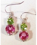 Pink Topaz Peridot Sterling Silver Earrings 8.0 cttw MADE IN USA - $145.00