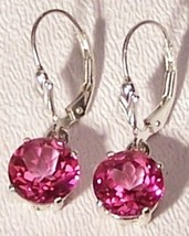 Pink Topaz Sterling Silver Earrings 5.0 cttw 8mm MADE IN USA - $125.00