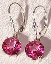 Pink Topaz Sterling Silver Earrings 5.0 cttw 8m... - $125.00