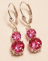 Pink Topaz Sterling Silver Earrings  6.5 cttw MADE IN USA - $155.00