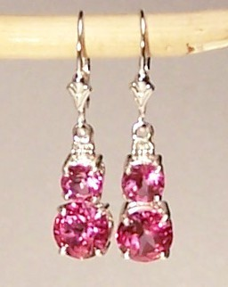 Pink Topaz Sterling Silver Earrings  6.5 cttw MADE IN USA
