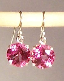Pink Topaz Sterling Silver Earrings 9.0 cttw 10mm MADE IN USA