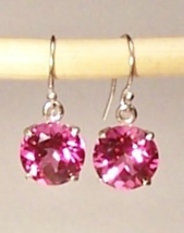 Pink Topaz Sterling Silver Earrings 9.0 cttw 10mm MADE IN USA - $165.00