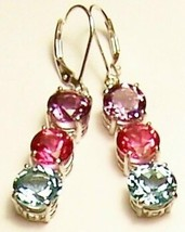 Amethyst Pink Topaz Blue Topaz Sterling Silver Earrings MADE IN USA - $239.00