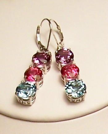 Amethyst Pink Topaz Blue Topaz Sterling Silver Earrings MADE IN USA