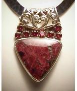 Rhodolite Garnet Eudialyte Silver Pendant Slide... - $325.00