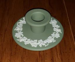 Wedgwood Jasperware Green Grapevine Banquet Candlestick Holder Beautiful - $14.99