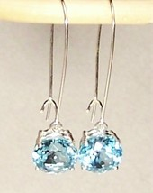 Sky Blue Topaz Sterling Silver Earrings 11.0 cttw MADE IN USA - $155.00
