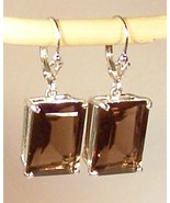 Smoky Quartz Sterling Silver Earrings 14.0 cttw 14x10mm MADE IN USA - $155.00