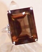 Smoky Quartz Sterling Silver Ring 15.0 ct 18x13mm MADE IN USA - $135.00