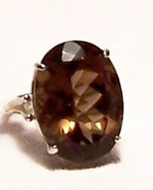 Smoky Quartz Sterling Silver Ring 16.5 ct 20x15... - $145.00