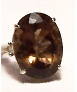 Smoky Quartz Sterling Silver Ring 16.5 ct 20x15mm SZ 7 MADE IN USA - $145.00