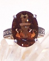 Smoky Quartz Sterling Silver Ring 5.5 ct 14x10m... - $125.00