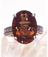Smoky Quartz Sterling Silver Ring 5.5 ct 14x10m... - $125.00