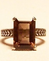 Smoky Quartz Sterling Silver Ring 7.0 ct 14X10m... - $125.00