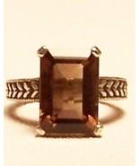 Smoky Quartz Sterling Silver Ring 7.0 ct 14X10m... - $125.00