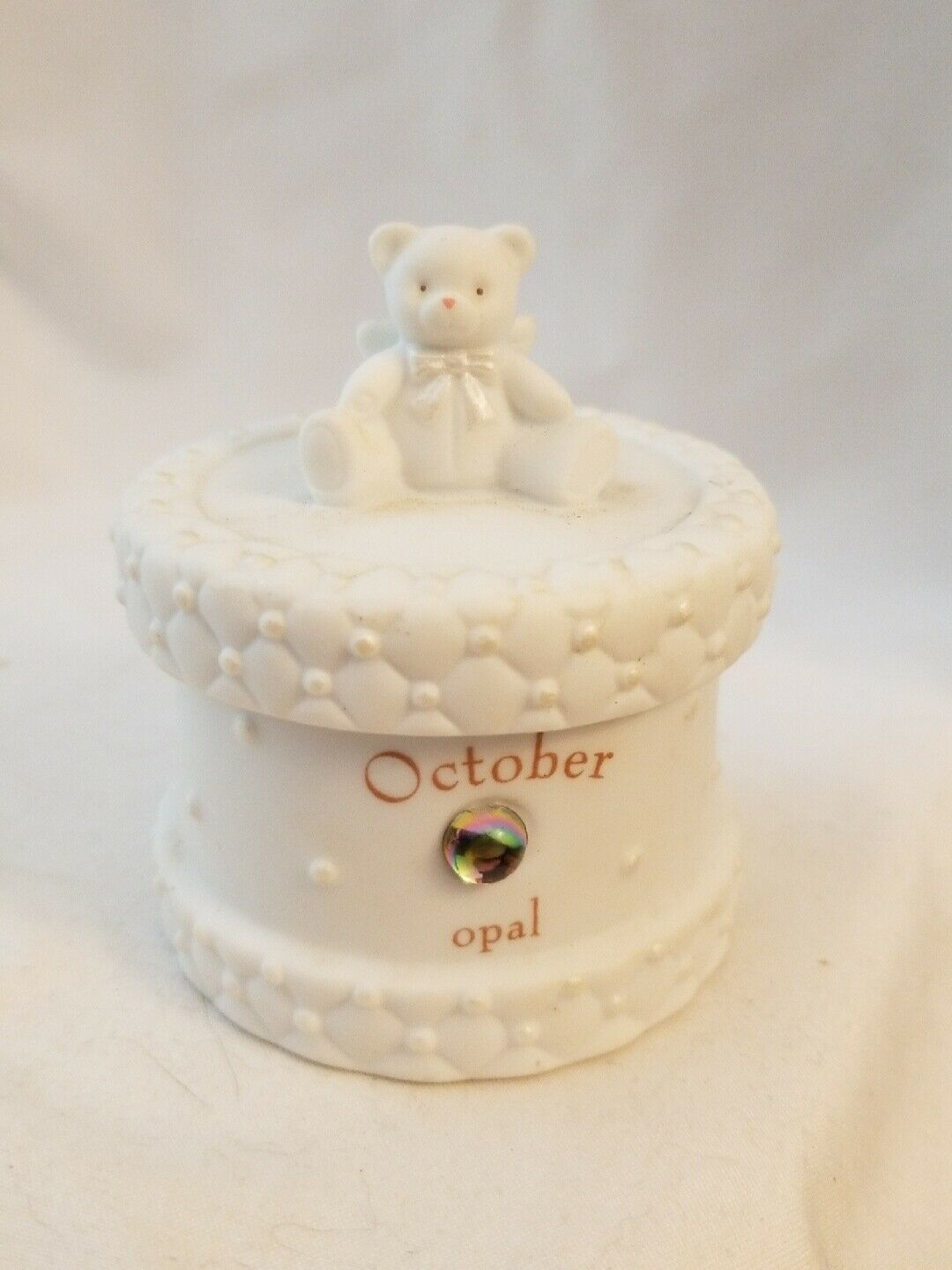 OCTOBER Birthstone Baby KEEPSAKE BOX porcelain RUSS Bear Angel