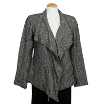 EILEEN FISHER Charcoal Gray Distorted Cotton Herringbone Cascading Jacket S - $169.99