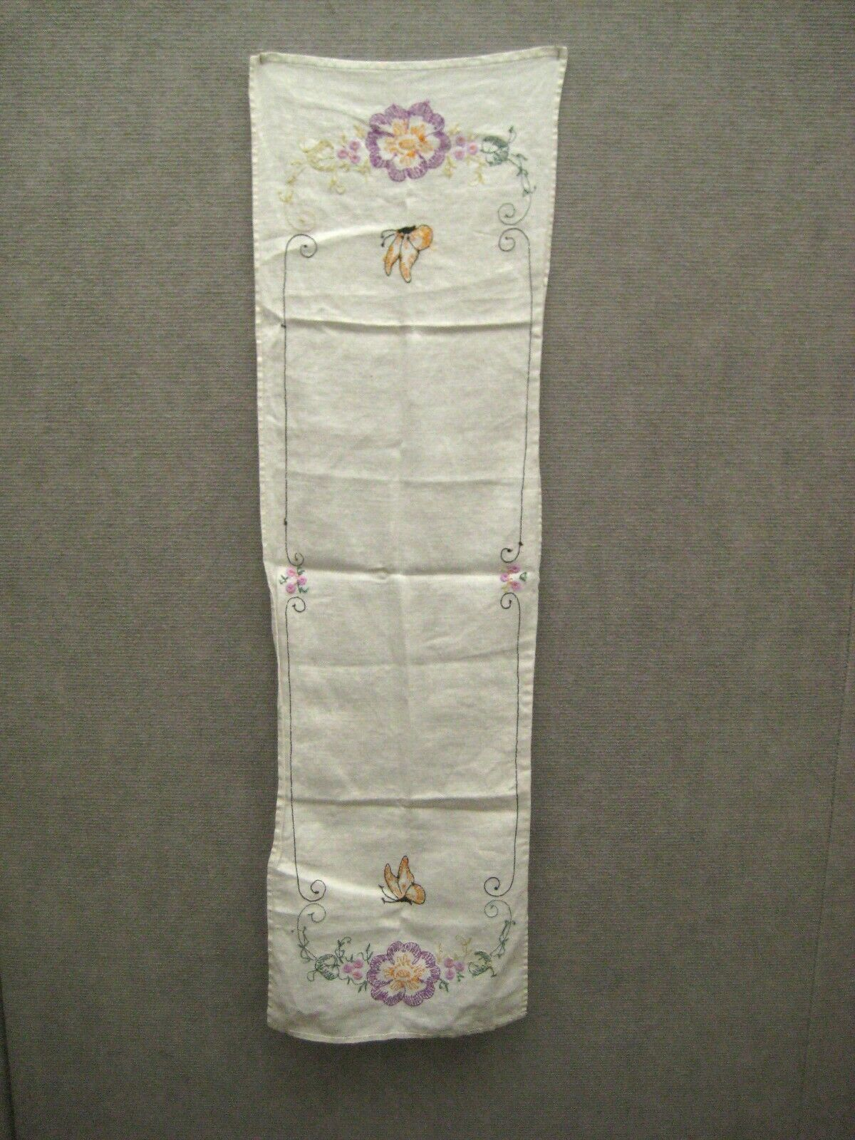 Tea Towel 38 In Kitchen Bathroom Crewel Embroidery Hand Stitch Floral Butterfly image 10