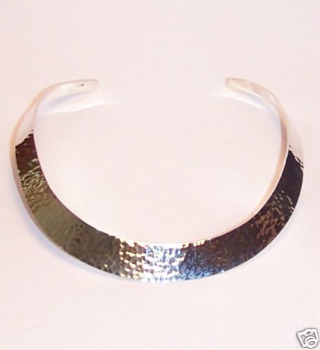 Sterling Silver Hammered Collar Cuff Neck Ring Necklace