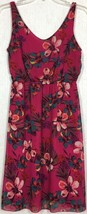 Old Navy Fuchsia Tropical Floral Dress Palm Leaf Turquoise V-Neck Chiffo... - $24.99