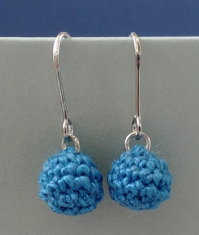 Crochet Dangle Ball Earrings / Ball Drop Earrings / Dangle Ball Earrings